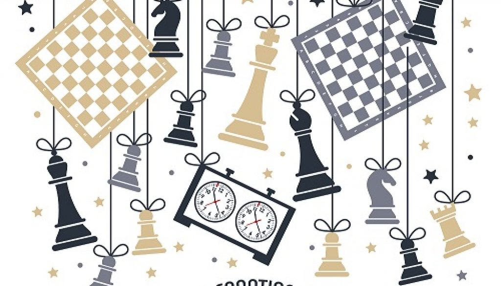 International chess day is celebrated annually on July 20, chess pieces Board and clock. Postcard.